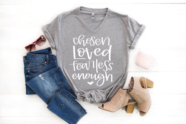 chosen loved fearless enough grey vneck tee www.karlastorey.com