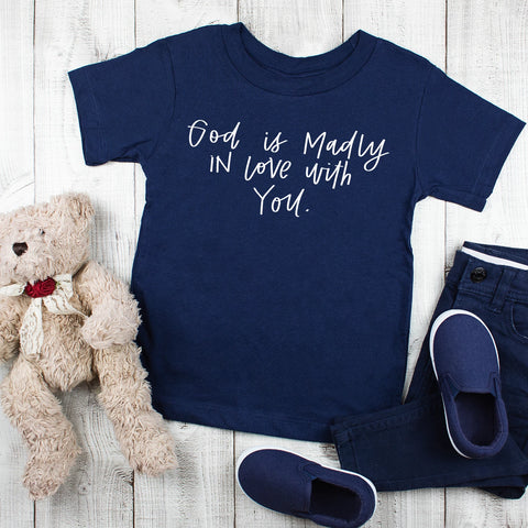 god is madly in love with you kids navy tee www.karlastorey.com
