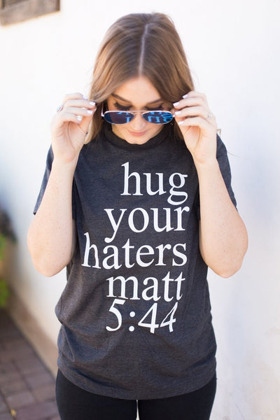 hug your haters charcoal tee www.karlastorey.com
