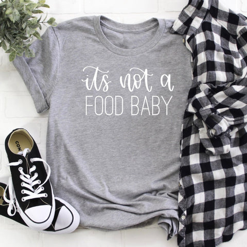 its not a food baby grey crew tee www.karlastorey.com