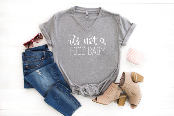 its not a food baby grey vneck tee www.karlastorey.com