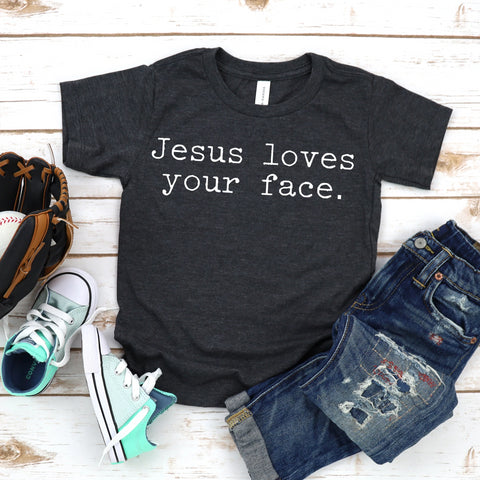 Jesus loves your face kids charcoal tee www.karlastorey.com