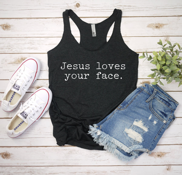 jesus loves your face charcoal tank www.karlastorey.com