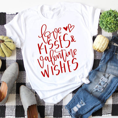 love kisses and valentine wishes white crew tee www.karlastorey.com