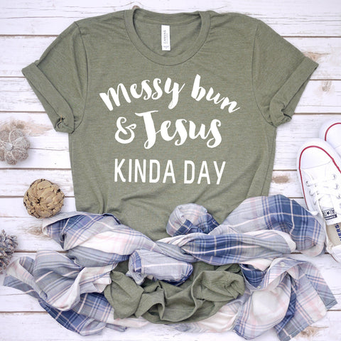 messy bun and jesus kinda day olive tee www.karlastorey.com