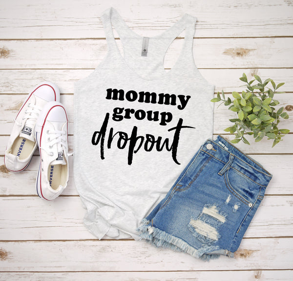 mommy group dropout white tank www.karlastorey.com