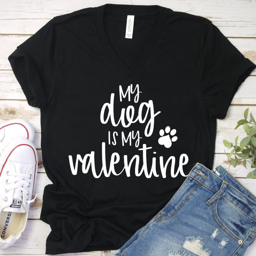 my dog is my valentine black vneck www.karlastorey.com
