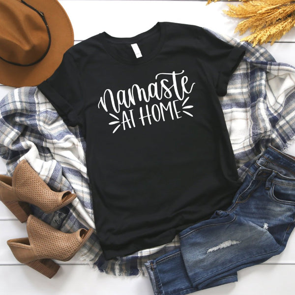 namaste at home charcoal crew tee www.karlastorey.com
