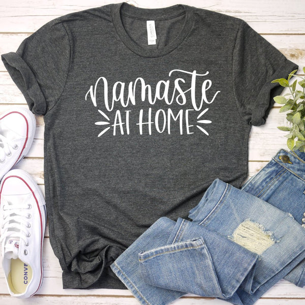 namaste at home grey crew tee www.karlastorey.com