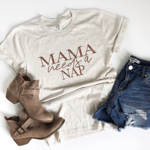 mama needs a nap oatmeal tee rose gold ink www.karlastorey.com