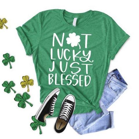 not lucky just blessed kelly green tee shirt crew www.karlastorey.com