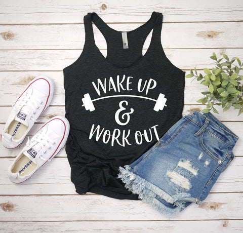 wakeup and workout charcoal triblend racerback tank www.karlastorey.com