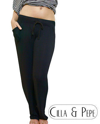 Slouch Fit Relaxed Jersey Pants Black