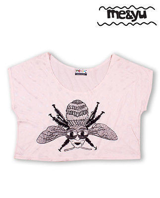 Bee Hand Printed Slouch Top Peach