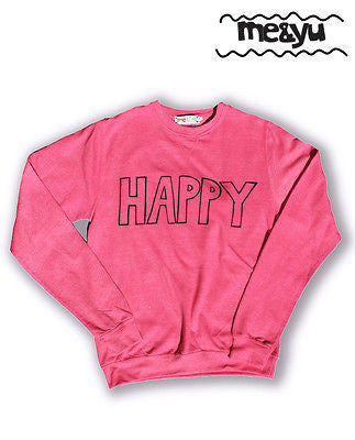 HAPPY Hand Printed Yoga Sweatshirt Pink