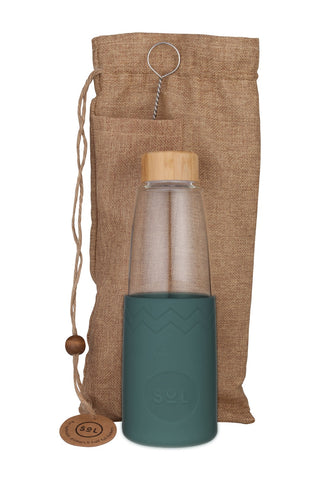 850ml Glass Water Bottle Deep_Sea_Green