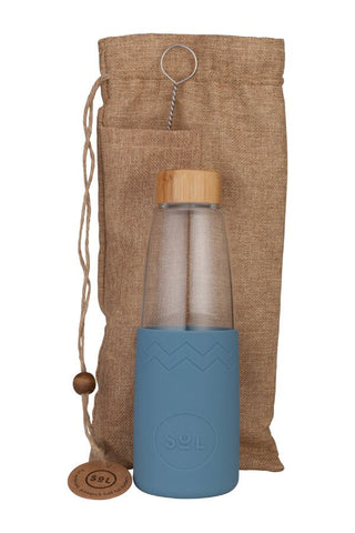 850ml Glass Water Bottle Blue_Stone