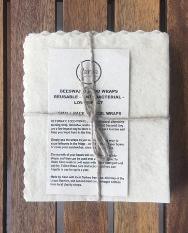 Natural Beeswax'd Cotton Food Wraps Small