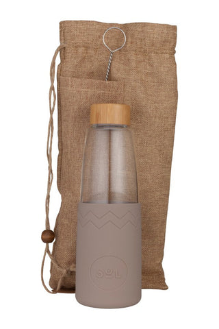 850ml Glass Water Bottle Seaside_Slate
