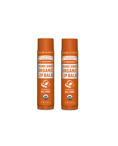 Organic Lip Balm Orange Ginger Duo