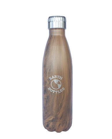 Insulated Water Bottle 500ml Pale Faux Wood