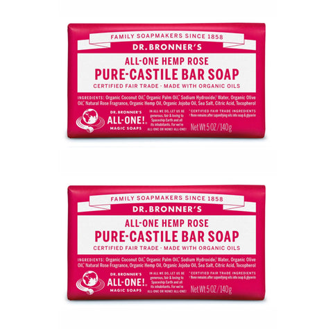 Pure-Castile Hemp Bar Soap Rose x 2