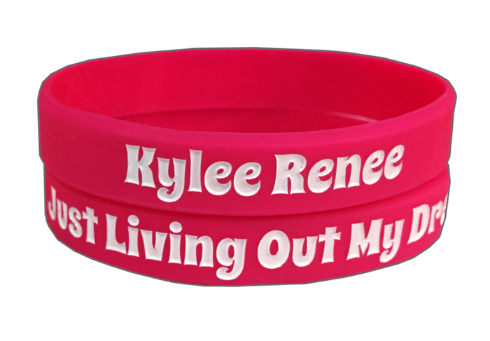 "Kylee Renee's Hot Pink ""Just Living Out My Dreams"" Wristband"