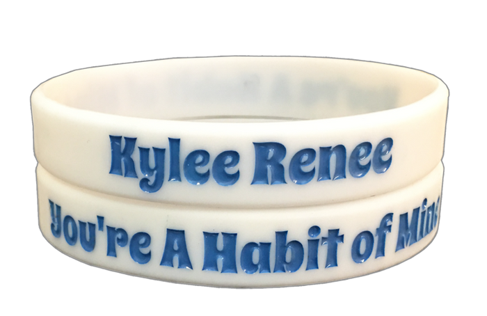 "Kylee Renee's White ""You're A Habit Of Mine"" Wristband"