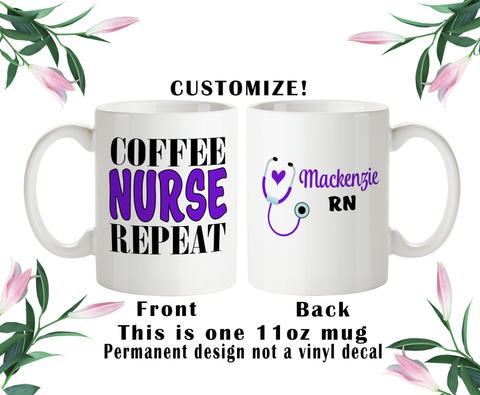 Coffee Nurse Repeat, Nurse Coffee Mug, Nurse Water Bottle, Travel Mug, Christmas Gifts, Nurse Grad Gift, RN Cup, NP Gift
