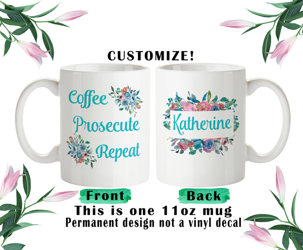 Coffee Prosecute Repeat Mug, Lawyer Grad Gift, Lawyer Water Bottle, Travel Mug, Christmas Gifts, Birthday Gifts,