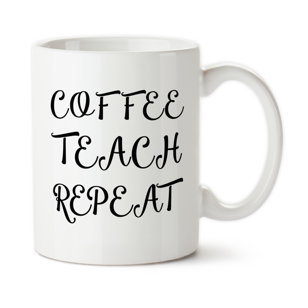 Coffee Teach Repeat 001 Coffee Mug, Water Bottle, Travel Mug, Christmas Gifts, Gifts For Teacher, Teaching Mug