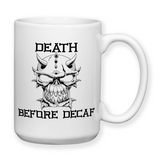 Death Before Decaf, Coffee Mugs, Travel Mugs, Funny Cup, Coffee Gifts, Skull Mug, Dad Gift