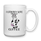 I Udderly Love Coffee, Coffee Mug, Cows, Water Bottle, Travel Mug, Christmas Gifts, Cow Cup, Puns