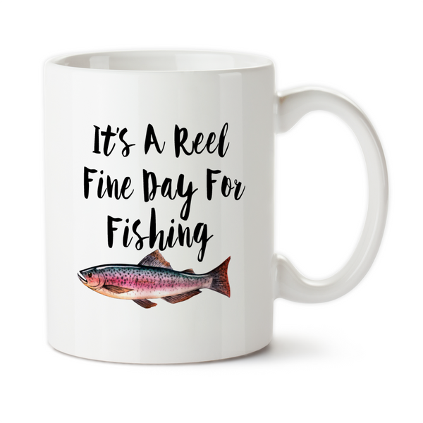 its a reel fine day for fishing coffee mug water bottle travel mug
