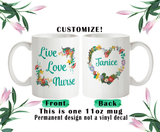 Live Love Nurse, Nurse Coffee Mug, Nurse Water Bottle, Nurse Travel Mug, Christmas Gifts, Gifts For Nurse, Funny Nurse Cup