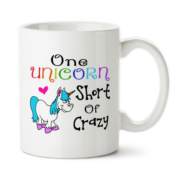 One Unicorn Short Of Crazy, Coffee Mug, Water Bottle, Travel Mug, Christmas Gifts, Birthday Gifts, Unicorn Cups,