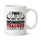This Is What An Awesome Teacher Looks Like, Coffee Mug, Water Bottle, Travel Mug, Christmas Gifts, Gifts For Teacher, Teaching Mug