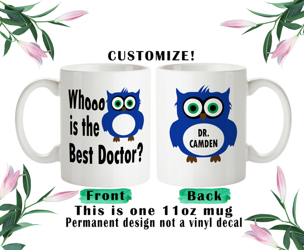 Doctor Coffee Mug, Water Bottle, Travel Mug, Christmas Gifts, Gift For Doctor, Owl Doctor Gift, Owl Bottle, Doctor Appreciation Gift
