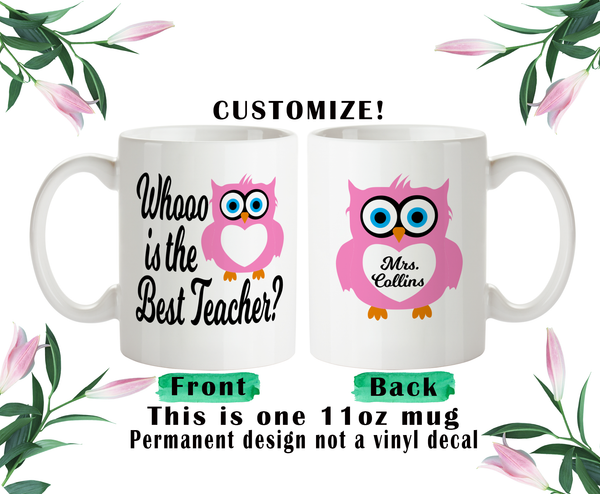 Owl Teacher Gift, Owl Water Bottle, Teacher Mug, Owl Travel Mug, Christmas Gifts, Owl Name Gift, Owl Lover Gift, Owl Pun Mug