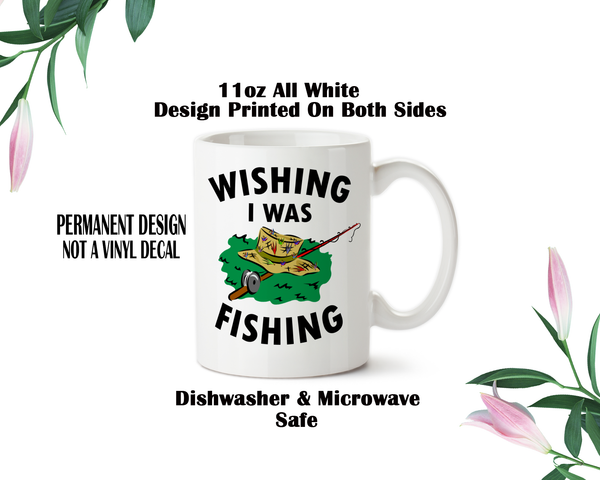 wishing i was fishing coffee mug water bottle travel mug christmas gifts