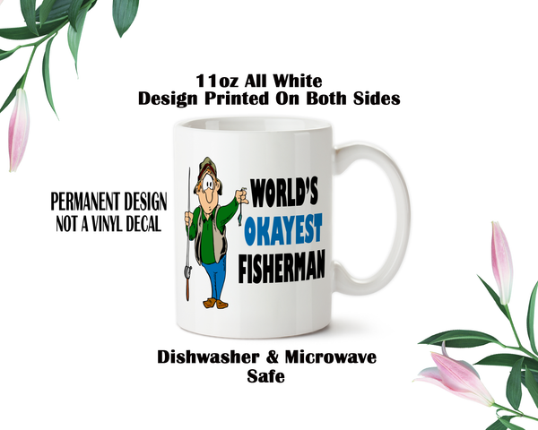 World\'s Okayest Fisherman 001, Coffee Mug, Water Bottle, Travel Mug ...