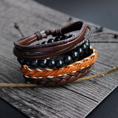 Women's Multi layer Handmade Wristband Leather Bracelet.