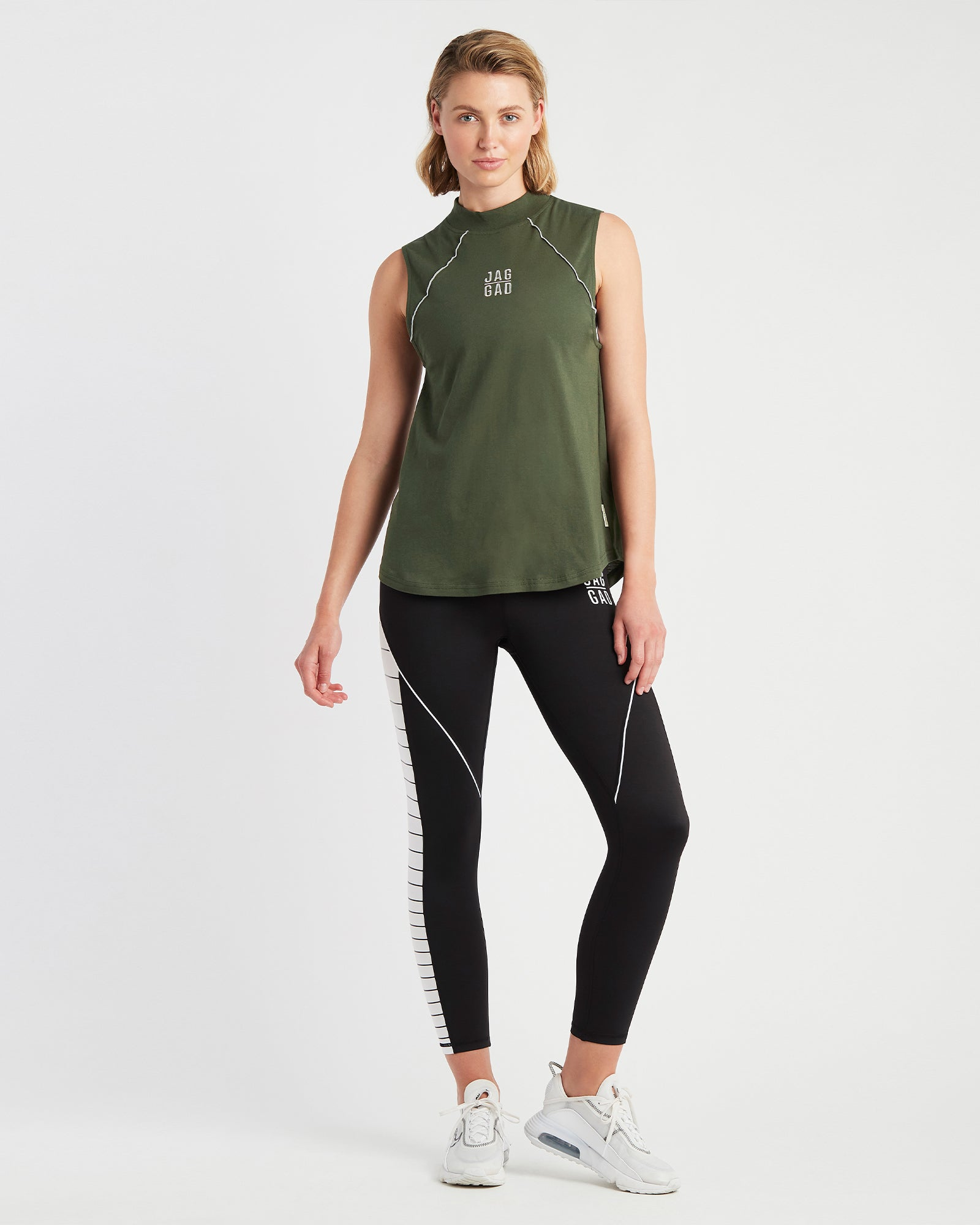 Reflect High-Neck Organic Cotton Tank Cool Khaki