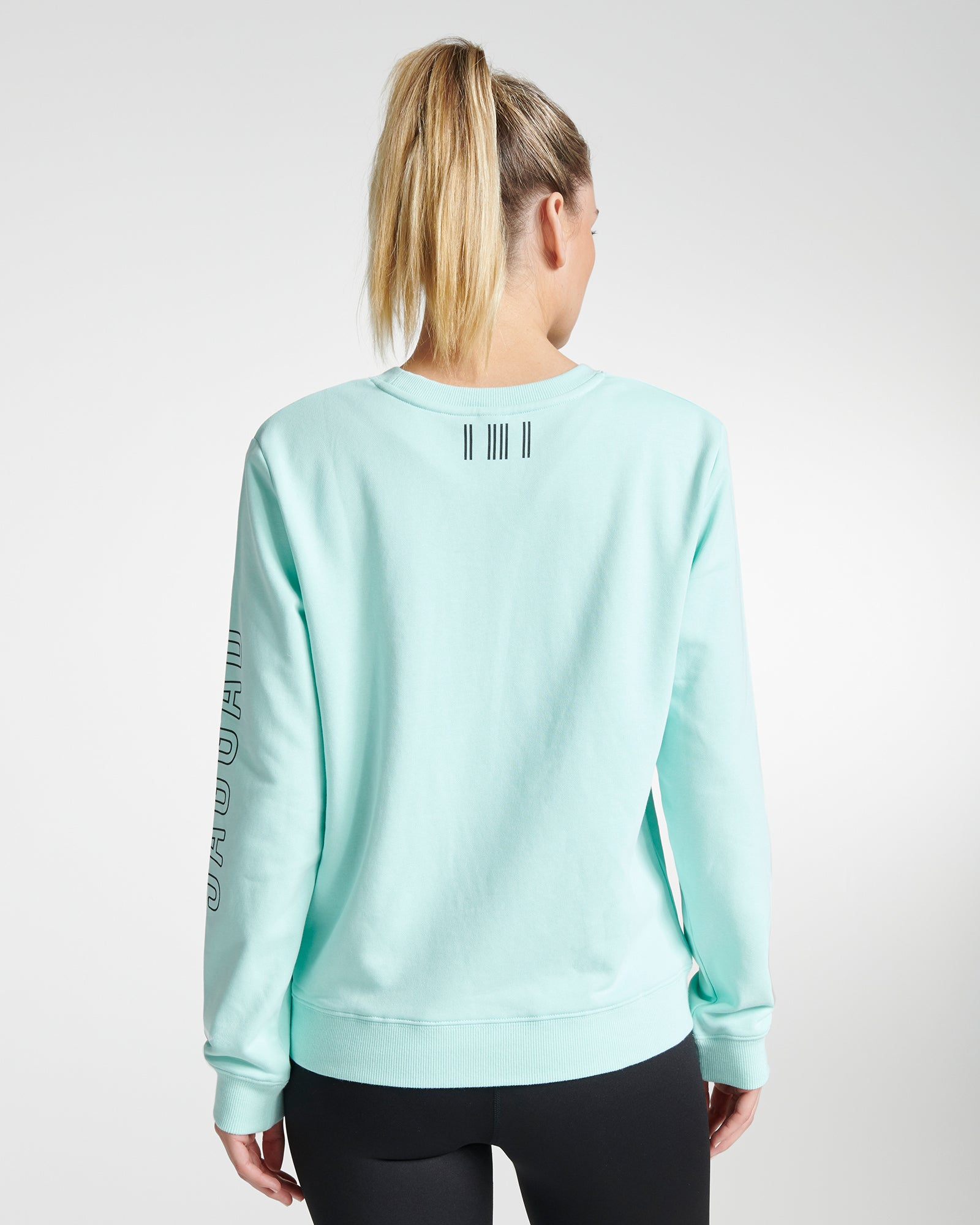 Classic Sleeve Print Sweater Aqua
