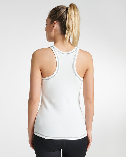 Fitted Waffle Tank White
