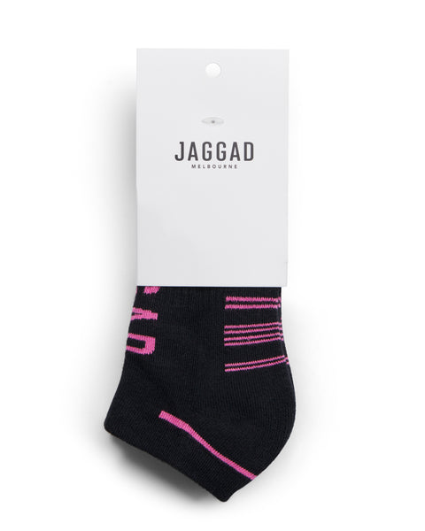 Black and Hot Pink Ankle Socks - 2 Pack