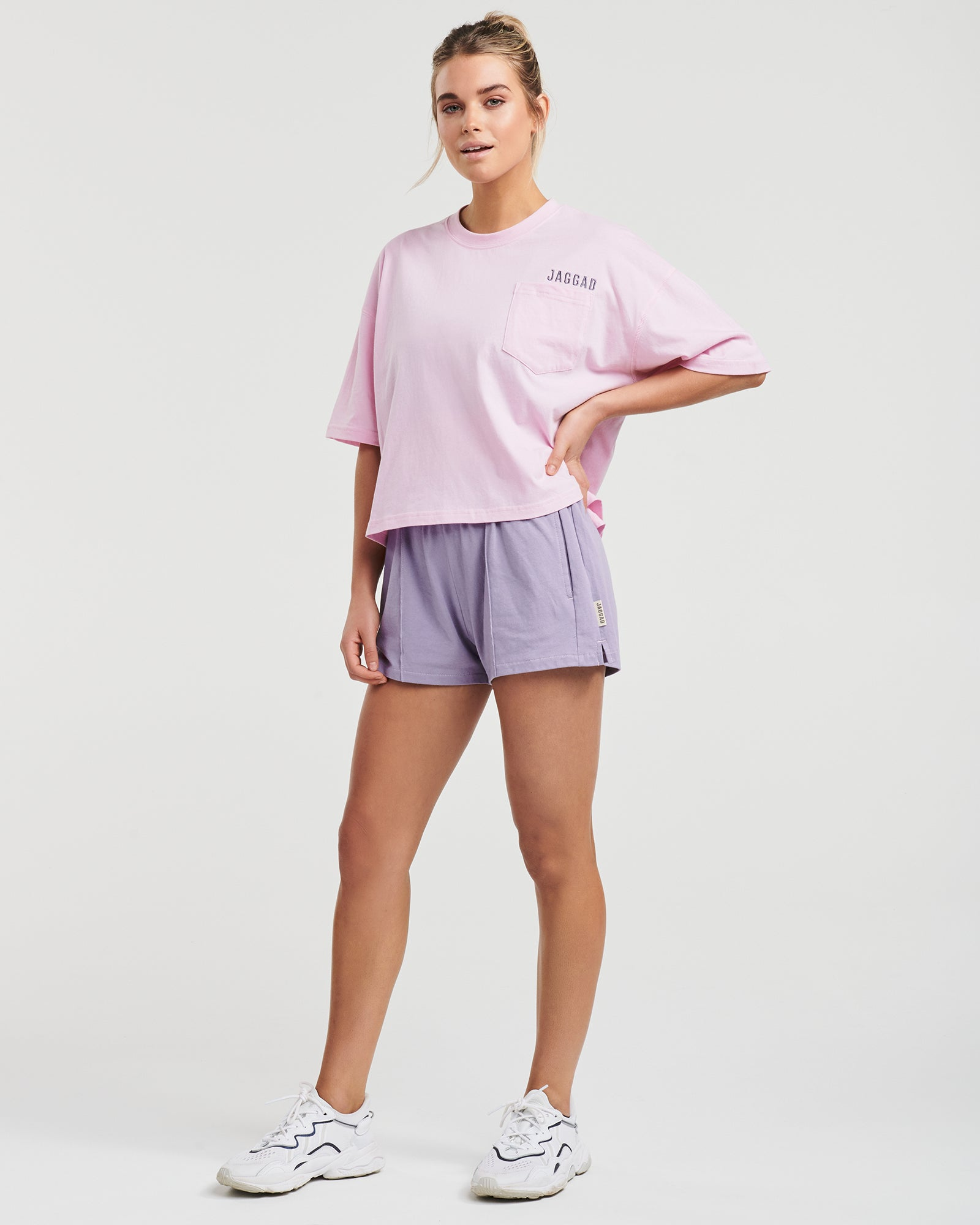 Reflect Crop Pocket Organic Cotton Tee Lilac Pink