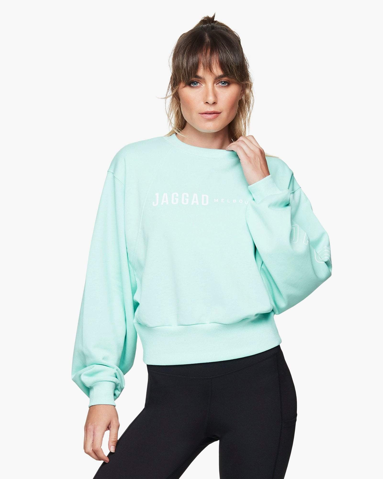 Jaggad Aqua Oversized Crop Sweater