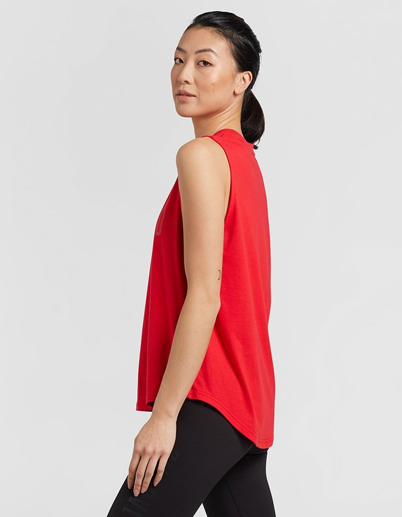 Red Side Step Muscle Tank
