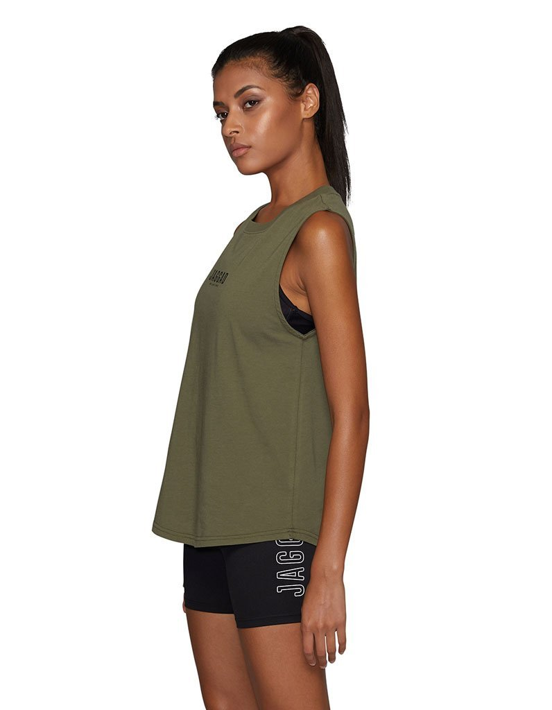 Side Step Muscle Tank Khaki